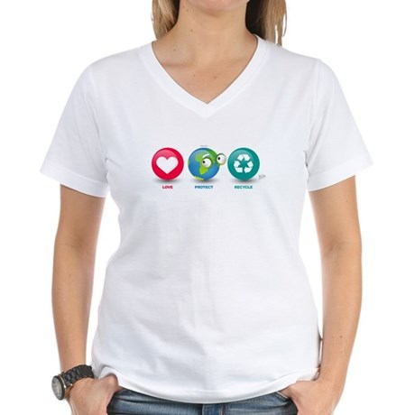 Love, Protect, Recycle Women's V-Neck T-Shirt