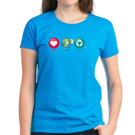 Love, Protect, Recycle Women's Dark T-Shirt