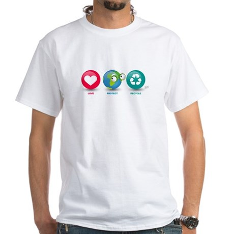 Love, Protect, Recycle White T-Shirt