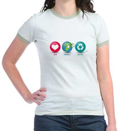 Love, Protect, Recycle Jr. Ringer T-Shirt
