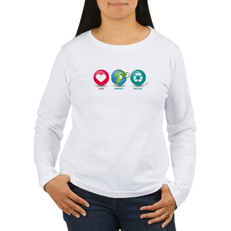 Love, Protect, Recycle Women's Long Sleeve T-Shirt