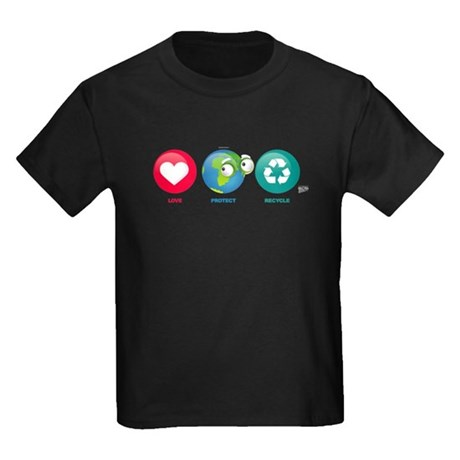 Love, Protect, Recycle Kids Dark T-Shirt
