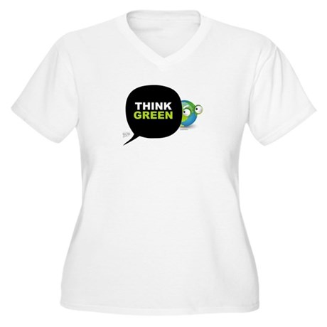 Think Green v3 Women's Plus Size V-Neck T-Shirt
