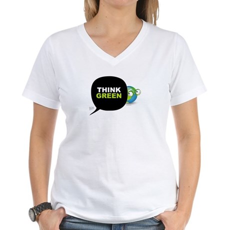 Think Green v3 Women's V-Neck T-Shirt
