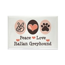 Peace Love Italian Greyhound Rectangle Magnet