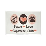 Peace Love Japanese Chin Rectangle Magnet (100 pac