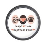 Peace Love Japanese Chin Wall Clock
