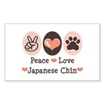 Peace Love Japanese Chin Rectangle Sticker