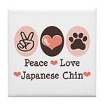 Peace Love Japanese Chin Tile Coaster
