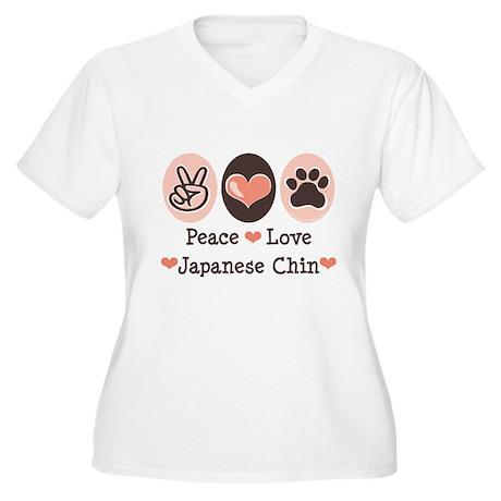 Peace Love Japanese Chin Women's Plus Size V-Neck