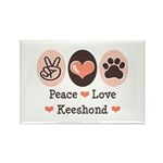 Peace Love Keeshond Rectangle Magnet (100 pack)