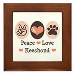 Peace Love Keeshond Framed Tile