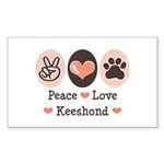 Peace Love Keeshond Rectangle Sticker