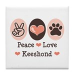 Peace Love Keeshond Tile Coaster