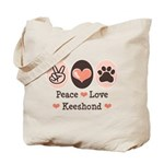 Peace Love Keeshond Tote Bag