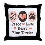 Peace Love Kerry Blue Terrier Throw Pillow