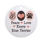 Peace Love Kerry Blue Terrier Ornament (Round)