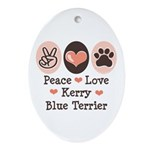 Peace Love Kerry Blue Terrier Oval Ornament