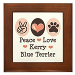 Peace Love Kerry Blue Terrier Framed Tile