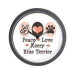 Peace Love Kerry Blue Terrier Wall Clock
