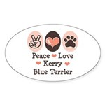 Peace Love Kerry Blue Terrier Oval Sticker
