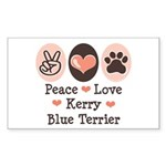Peace Love Kerry Blue Terrier Sticker (Rectangular
