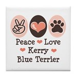 Peace Love Kerry Blue Terrier Tile Coaster