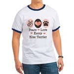 Peace Love Kerry Blue Terrier Ringer T