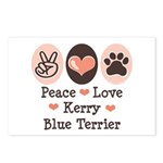 Peace Love Kerry Blue Terrier Postcards (Package o