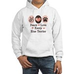 Peace Love Kerry Blue Terrier Hooded Sweatshirt