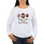 Peace Love Kerry Blue Terrier Women's Long Sleeve