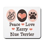Peace Love Kerry Blue Terrier Mousepad
