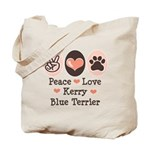 Peace Love Kerry Blue Terrier Tote Bag
