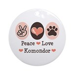 Peace Love Komondor Ornament (Round)