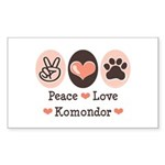 Peace Love Komondor Rectangle Sticker