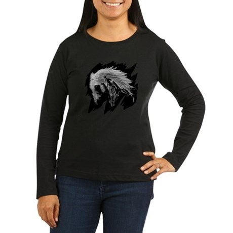 Horse Sketch Women's Long Sleeve Dark T-Shirt