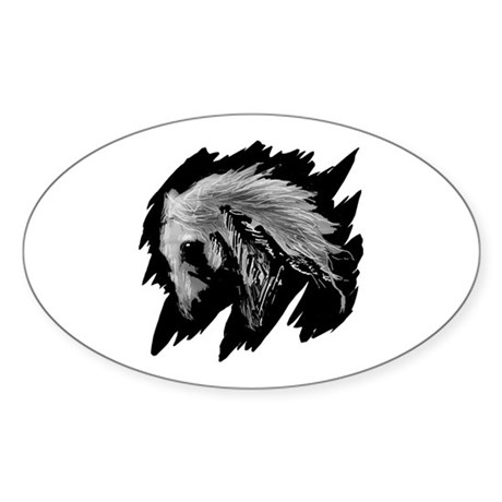 Horse Sketch Oval Sticker