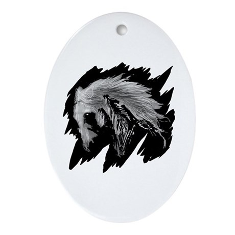 Horse Sketch Oval Ornament