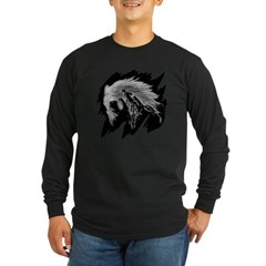 Horse Sketch Long Sleeve Dark T-Shirt