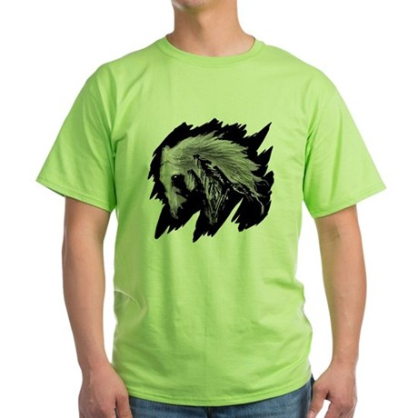 Horse Sketch Green T-Shirt