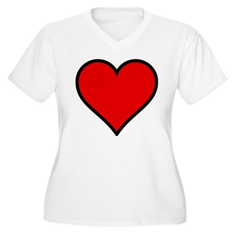 Simple Heart Women's Plus Size V-Neck T-Shirt