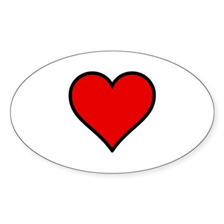 Simple Heart Oval Sticker