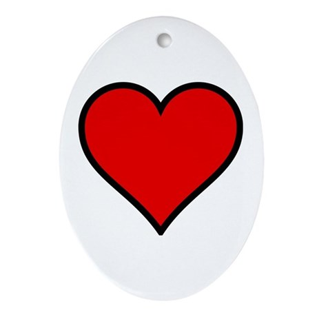 Simple Heart Oval Ornament