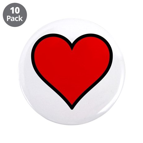 "Simple Heart 3.5"" Button (10 pack)"