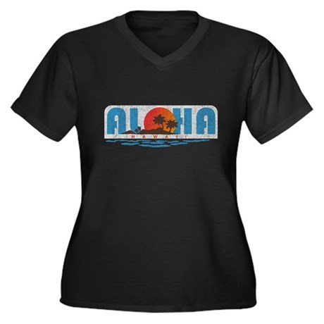 Vintage Aloha Hawaii Womens Plus Size V-Neck Dark