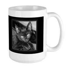 Cute Black Kitty Dark Coffee Mug