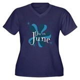 Due In June Retro Splat Women's Plus Size V-Neck D