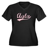 Vintage Ayla (Pink) Women's Plus Size V-Neck Dark