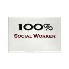 100 Percent Social Worker Rectangle Magnet