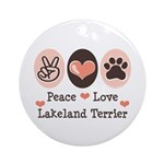 Peace Love Lakeland Terrier Ornament (Round)